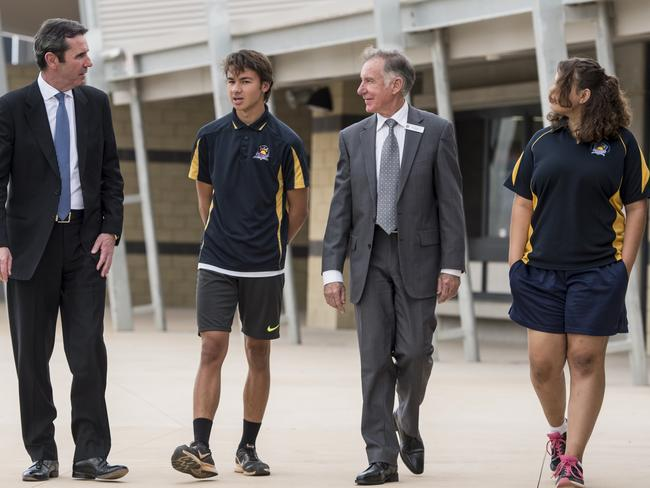 Education minister Peter Collier, school principal Ian Masarei with students Logan Watts, 15, and Keely-May Hodder, 15, at the opening of the $45 million upgrades. Picture: Matthew Poon.