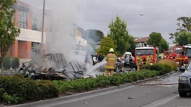 Firefighters douse Joe Cosentino's burning van in Mulgrave after a gas explosion killed the young tradesman. Picture: Vincent Choong/Source: Supplied