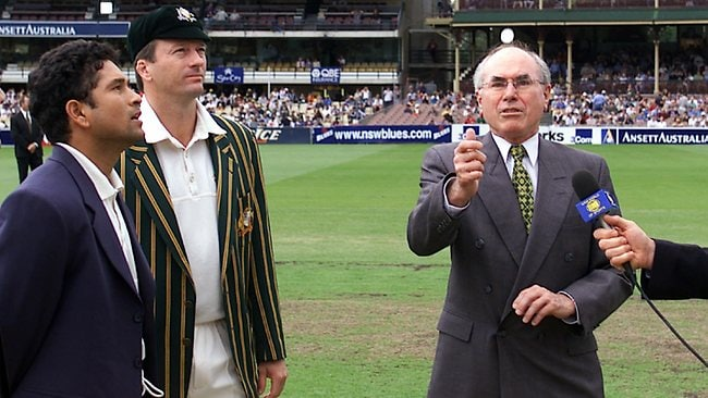 Sachin Tendulkar and Steve Waugh watch then Prime Minister John Howard toss the coin first day of Third Test at SCG in 200. Picture: Phil Hillyard