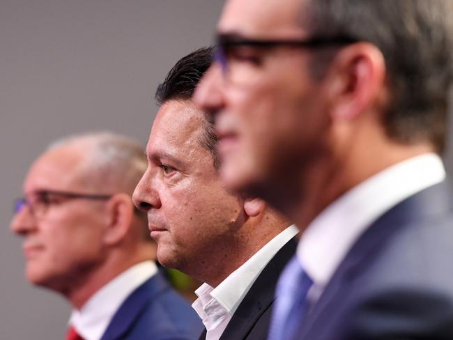 Liberal leader Steven Marshall (right), SA-BEST leader Nick Xenophon and Premier Jay Weatherill (left) during a leaders' debate on March 14. Picture: Tracey Nearmy/AAP
