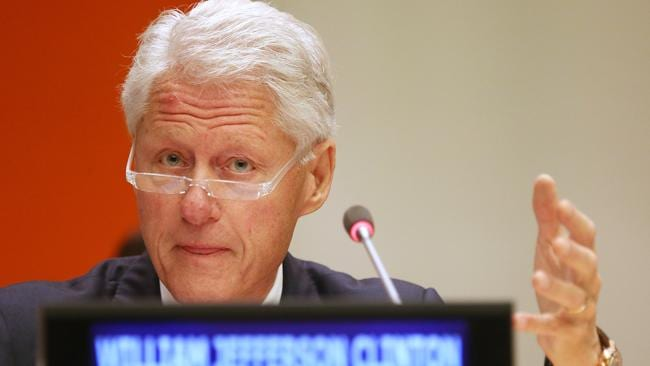 Former US President Bill Clinton speaks at the UN General Assembly, having recovered his reputation after the Monica Lewinsky affair. Picture: AFP.