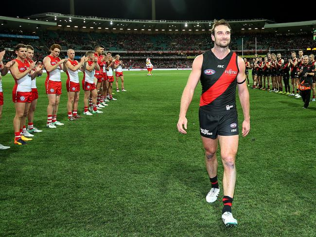 Essendon's Jobe Watson after playing his final match. Picture: Michael Klein
