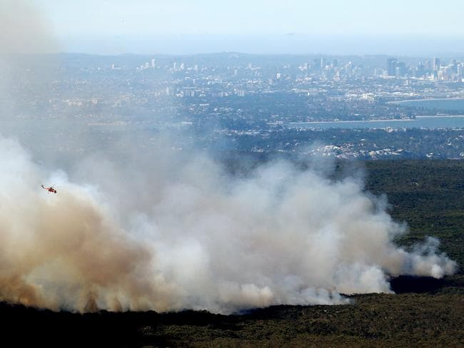 An aerial view of the fire. Picture: Tim Hunter