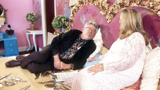 Shocked ... Rolf Harris on the bed with host Vanessa Feltz on The Big Breakfast TV Show in London. Feltz has come forward to say Harris abused her on life TV as his wife looked on.