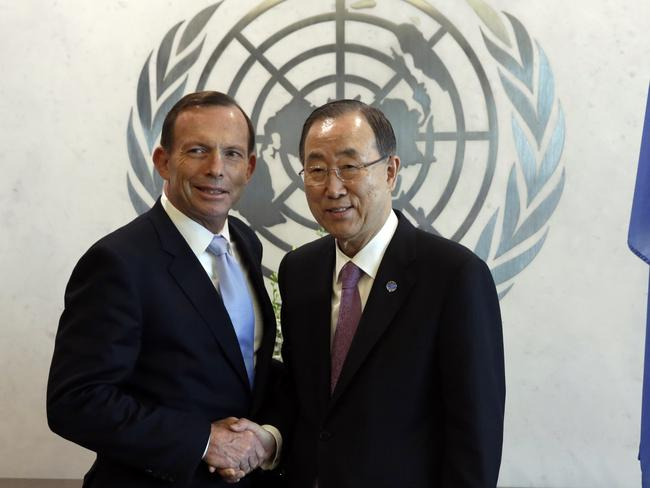 UN meet ... Abbott, left, shake hands with UN Secretary General Ban Ki-moon before their meeting at United Nations headquarters. Picture: Richard Drew