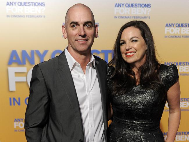 All in the family ... Rob Sitch with wife and Working Dog colleague Jane Kennedy. Picture: Supplied