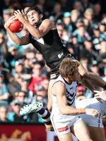 Round 8: Chad Wingard takes a screamer against Fremantle at Adelaide Oval. Picture: Sarah Reed