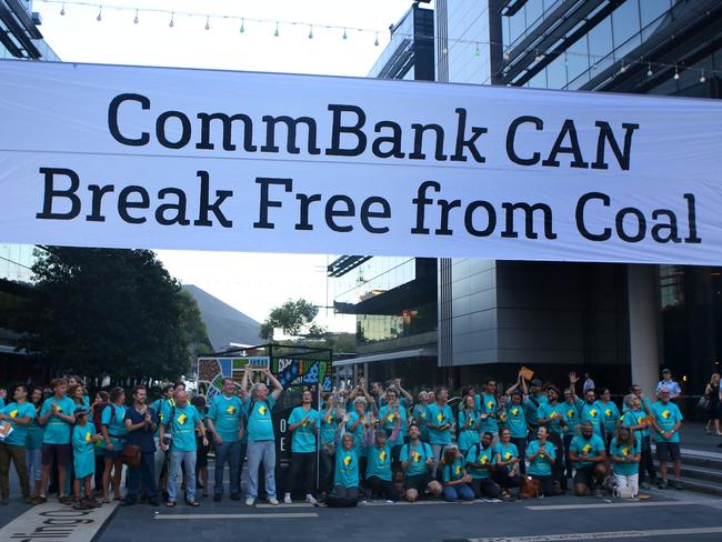 Greenpeace protested at CommBank's Sydney last month over funding of fossil fuel industry loans and is expecting to ramp up a campaign to stop it financing the Adani mine. Picture: James Alcock / Greenpeace