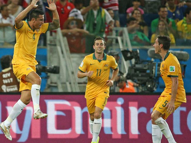 Tim Cahill celebrates his goal for Australia against Chile in the Group B World Cup clash.