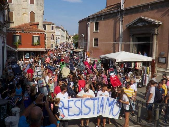Venice locals protest against mass tourism in their city. Picture: Generazione 90/Facebook