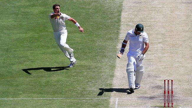 James Pattinson sends Graeme Smith on his way.