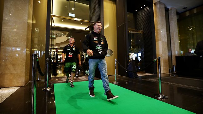 Green v Cameron: Crown Casino rolls out the green carpet for Danny as he leaves for the fight. Picture: Sam Ruttyn