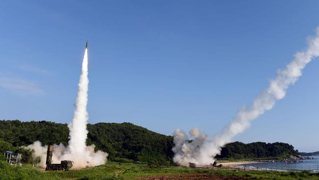 South Korea's Hyunmu-2 Missile System and the US M270 Multiple Launch Rocket System fire missiles off South Korea's east coast during a joint drill aimed to counter North Korea's missile test. Picture: AFP/South Korean Defence Ministry
