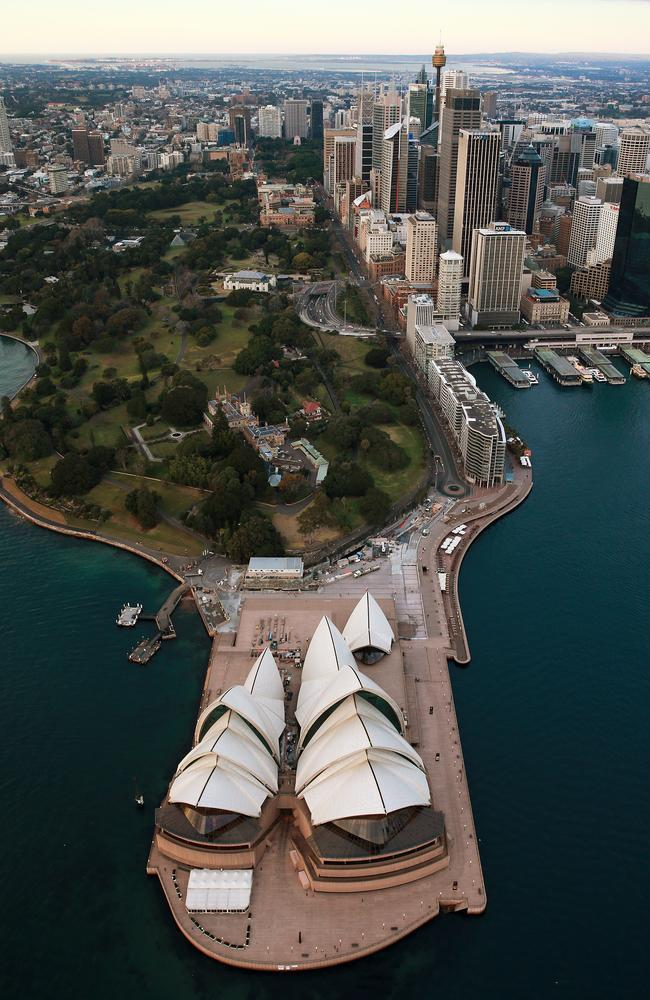 Aerial photos of Sydney CBD, Harbour and Barangaroo at sunrise. The Sydney Opera House and city skyline behind. Picture: Toby Zerna