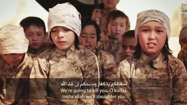 Brainwashed ... Islamic State child soldiers threaten to kill all non-believers. Source: Supplied.