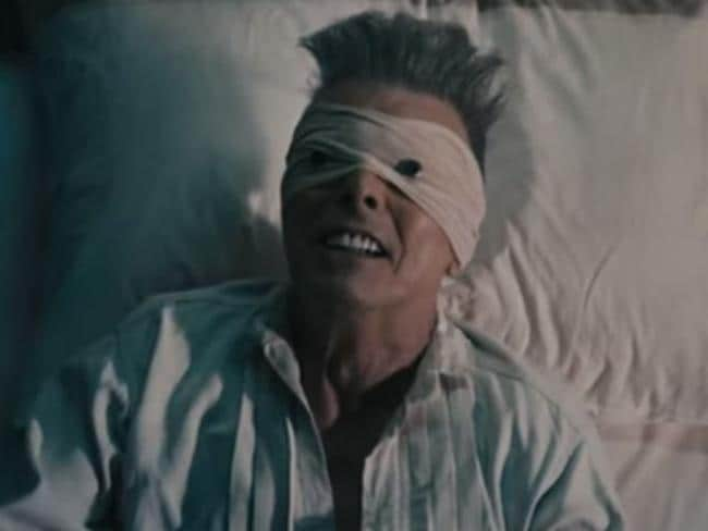 Musing on mortality ... David Bowie looked fragile in the clip for his swan song, Lazarus. Picture: Supplied
