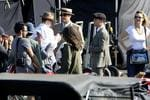 Leonardo DiCaprio and Tobey Maguire on set. Filming of Baz Luhrmann's 'The Great Gatsby' at the site of White Bay Power Station, Rozelle - Sydney. The Great Gatsby, staring Leonardo DiCaprio and Tobey Maguire. Picture: Brad Hunter