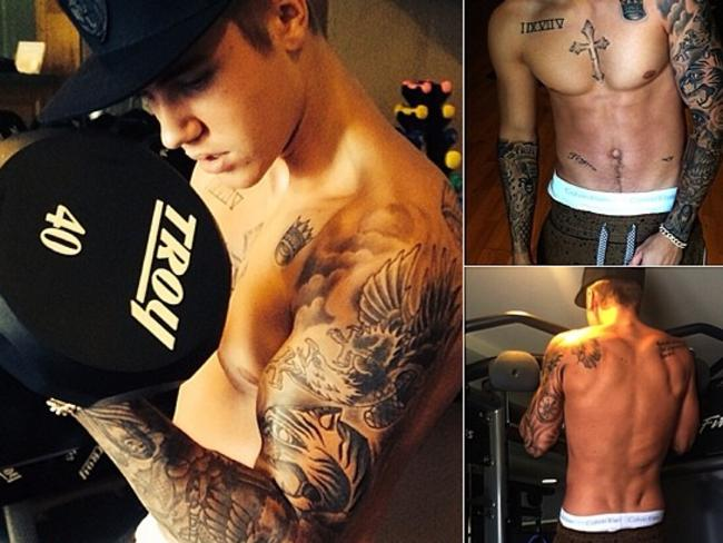 "Justin Bieber shows off his body, ""Back in the gym #dontbescared #orangegymrats"" Picture: Instagram"