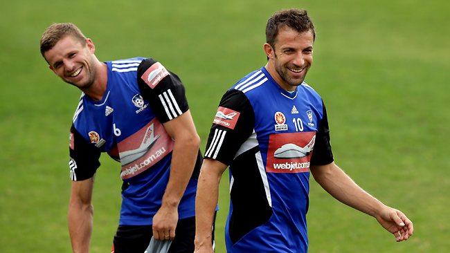 Alessandro Del Piero and Jason Culina share a joke during Sydney FC training this week. Picture: Gregg Porteous