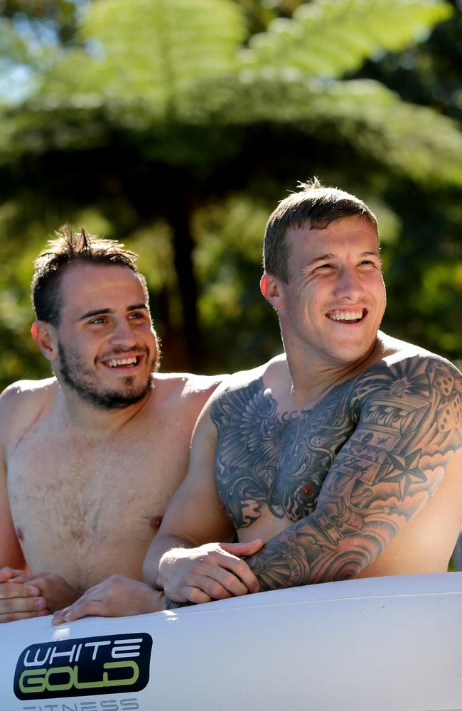 Halves pairing Josh Reynolds and Trent Hodkinson have a laugh.