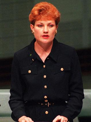 Member for Oxley ... Pauline Hanson delivers her infamous opening speech to Parliament in 1996.