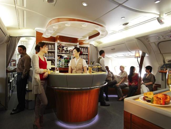 An in-flight bar.