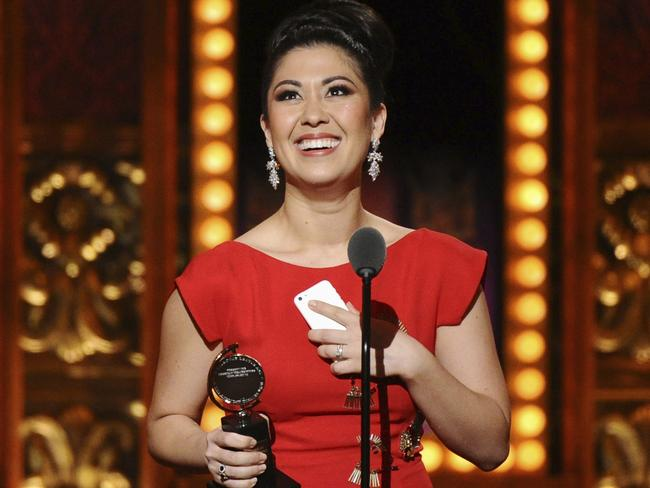 Ruthie Ann Miles accepts an award for her role in The King & I at the Tony Awards in New York. Picture: AP