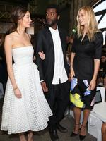 Gary Clarke Jr, Nicole Trunfio and Gemma Ward attend the Maticevski show at Mercedes-Benz Fashion Week Australia 2015 at Bay 25 Carriageworks on April 14, 2015 in Sydney, Australia. Picture: Getty