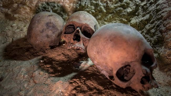 Skulls are seen at a recently found ancient Egyptian cemetery south of Cairo. Picture: EPA/Ibrahim Youssef