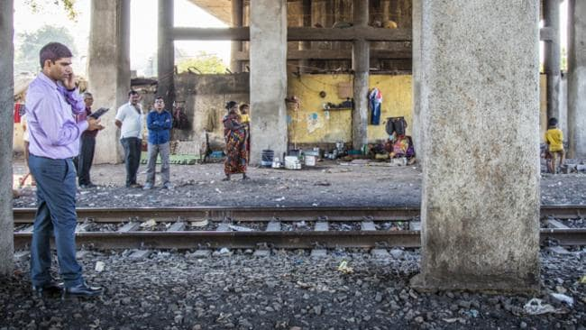 With some lucky contacts — a local bank Manager and university professor — to act as translators, we all headed down to the railway bridge to try and find the family. Picture: Chris Bray
