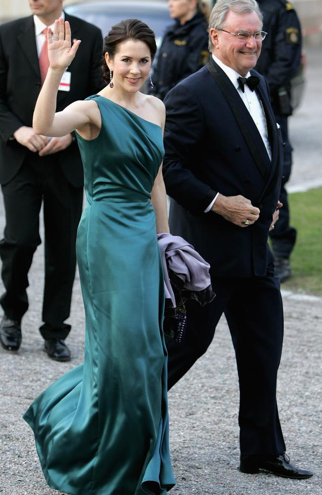 Princess Mary of Denmark and with her late father-in-law, Prince Henrik, in 2006. Picture: Getty Images