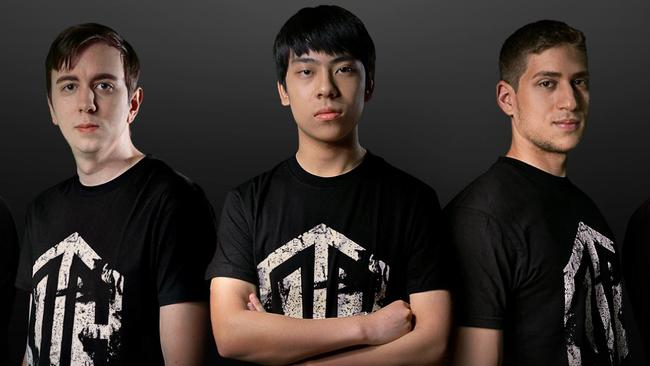 17-year-old Melburnian Anatham Pham, middle, in a team photo for his Dota 2 squad 'OG'. Also known as Ana, in the last year he has moved from China and now to Israel to live his dream of being a professional esports player.
