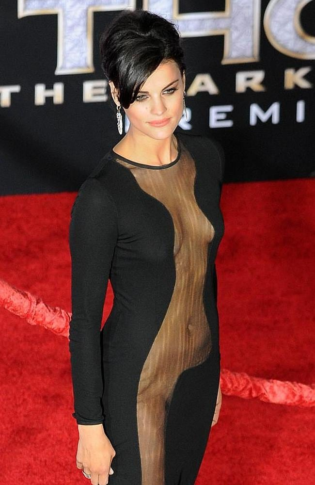 Jaimie Alexander narrowly avoided any embarrassing slip-ups. in this dress. Picture: Splash News