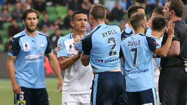 Tim Cahill and Sebastian Ryall clash during a scuffle in the FFA Cup final. Picture: Wayne Ludbey