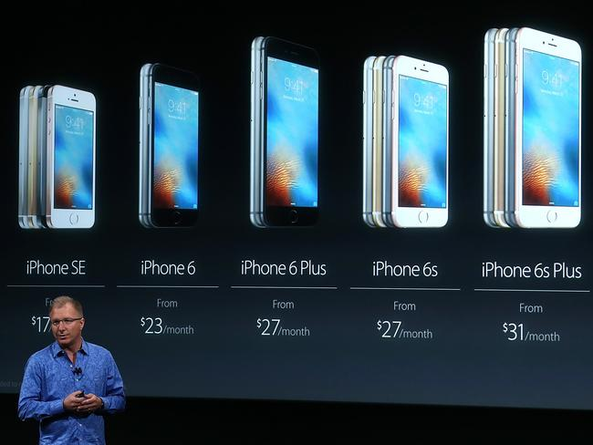 Back to basics ... Apple VP Greg Joswiak announces the new iPhone SE during an Apple special event at the Apple headquarters. Picture: Getty Images