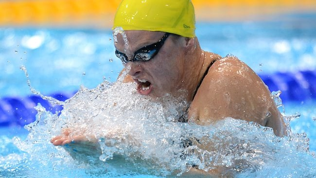 Leisel Jones in action in the 100m breaststroke final at the London Olympics.