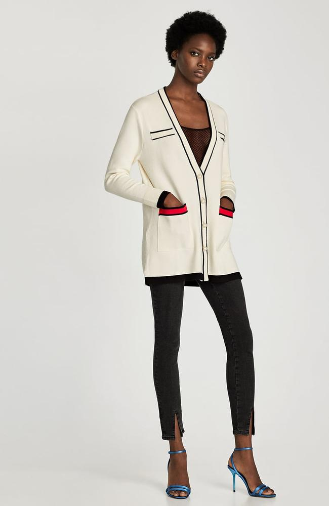 Cardigan with contrasting piping and faux pearls, $99.