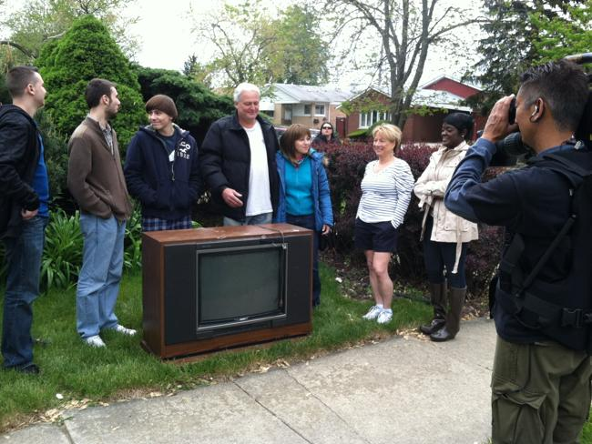 Dorothy, Debra and her family with their old television. Picture: Dorothy Breininger