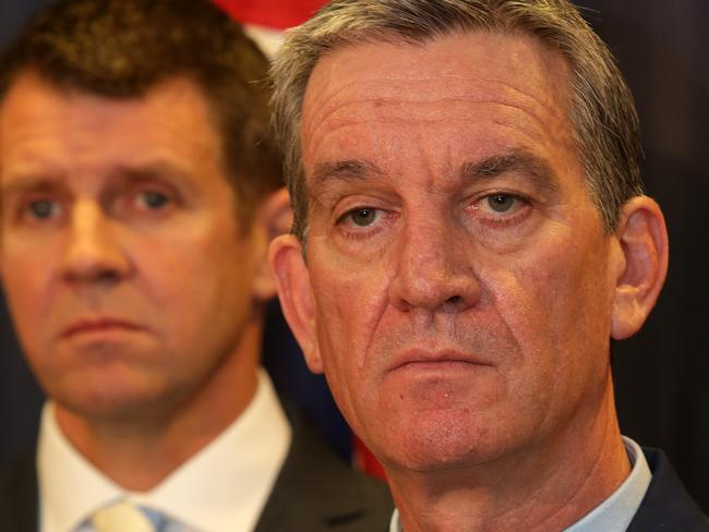 NSW Police Commissioner Andrew Scipione speaks at a press conference with NSW Premier Mike Baird yesterday.