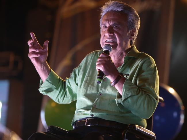 The presidential candidate of the Alianza PAIS party, Lenin Moreno. Picture: AFP/Juan Cevallos