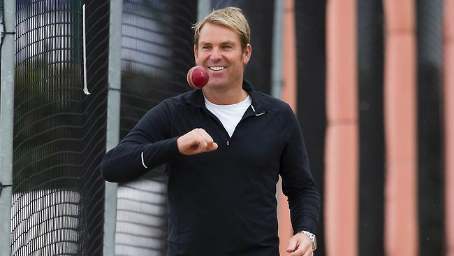 Shane Warne was all smiles during his net session with Michael Clarke's embattled Australian side at Old Trafford. Picture: AP