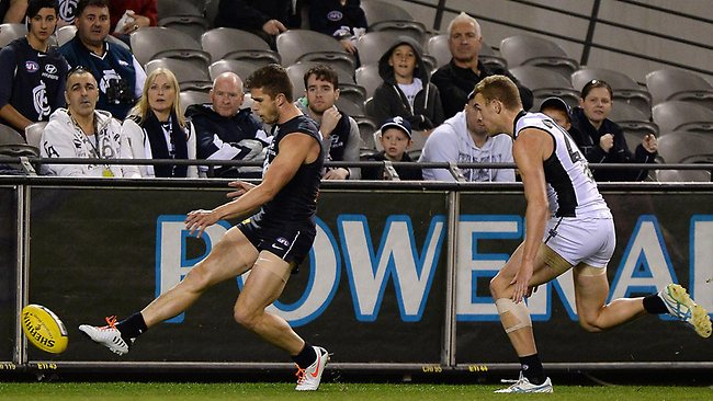 Carlton captain Marc Murphy kicks truly from deep in the pocket. Picture: George Salpigtidis