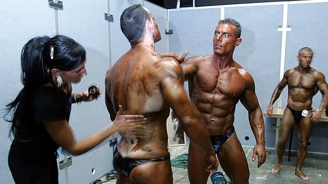 Bronzed Aussies: competitors at the NABBA Australian Bodybuilding, Figure and Fitness Championships at West Point.