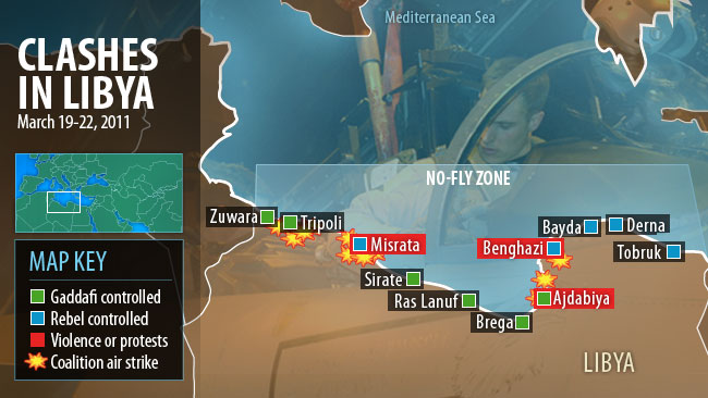 Clashes in Libya map
