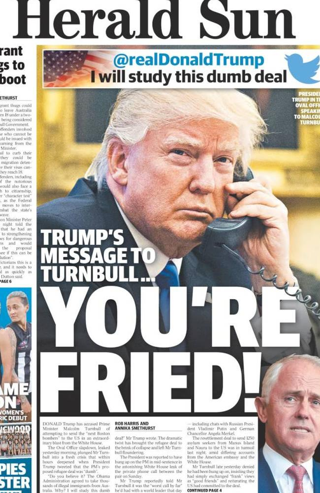 The Herald Sun cover from Friday, February 3.