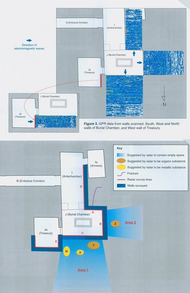 The raw data from the scan of the walls in Tutankhamun's burial chamber, above, with a diagram showing the extrapolated locations of organic and metallic materials. Source: Egypt's antiquities ministry