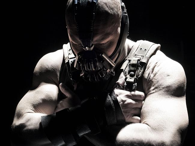 Tom Hardy bulked up for the role of Bane in The Dark Knight Rises, 2012.