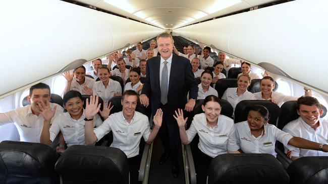 Tigerair Australia CEO Rob Sharp with airline staff. Pic: Supplied.