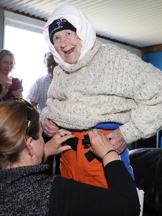 Mrs O'Shea gets suited up for the skydive. Picture: Calum Robertson
