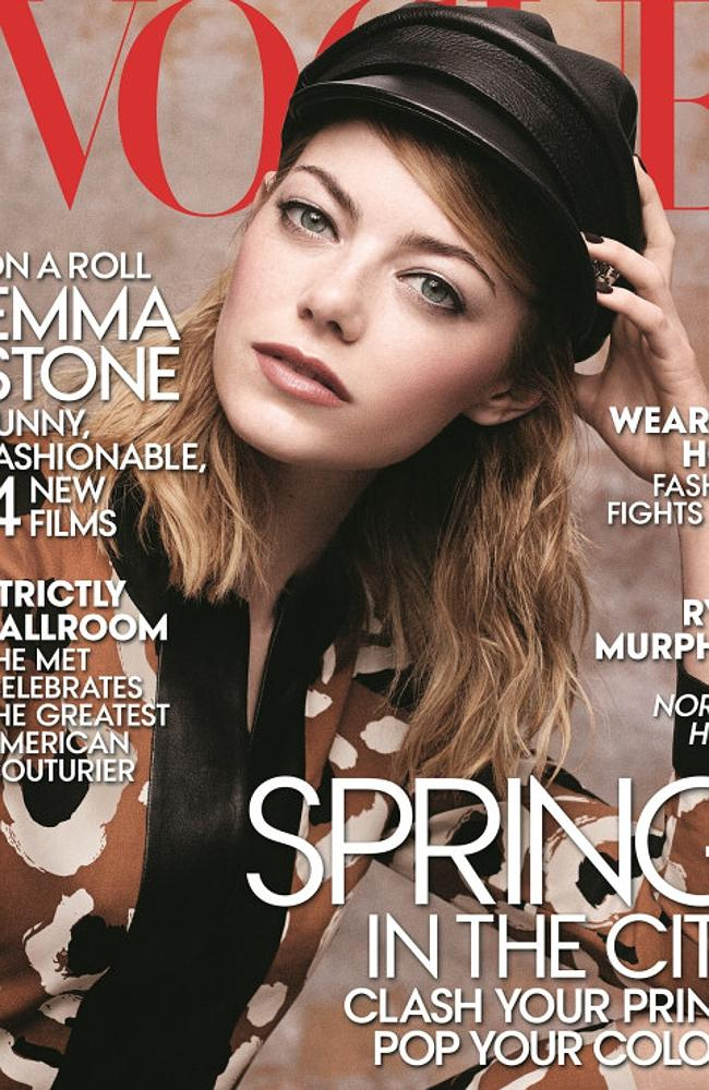Emma Stone looks far from bland on the Vogue cover.